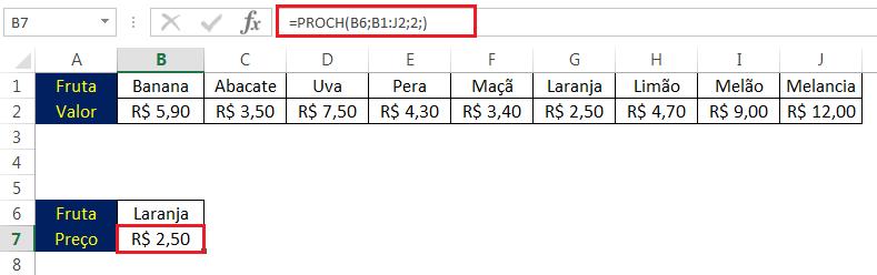 Exemplo Função PROCH no Excel