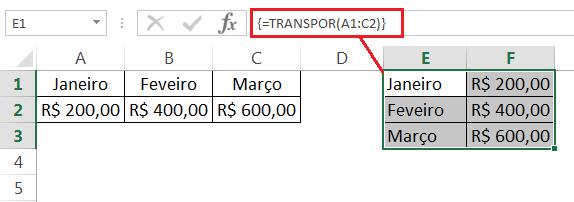 Como usar as principais funções do Excel - Função TRANSPOR