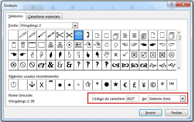 código de caractere no Excel