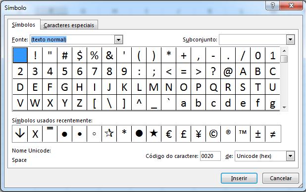 tipos de símbolos no Excel