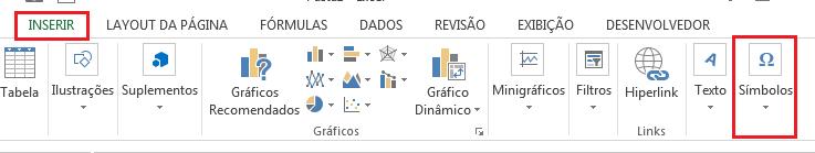 como inserir símbolos no Excel