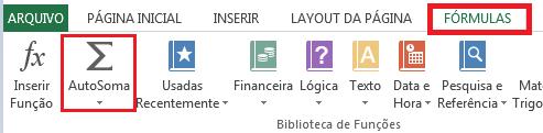 AutoSoma no Excel - soma de colunas