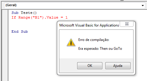 Erro de sintaxe no VBA
