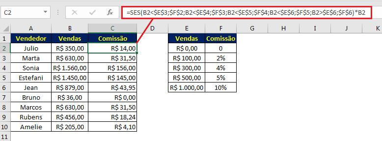 Identificando o valor da comissão no Excel com a função SES