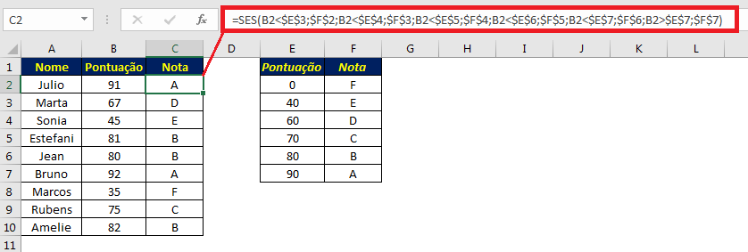 Exemplo de uso da função SES
