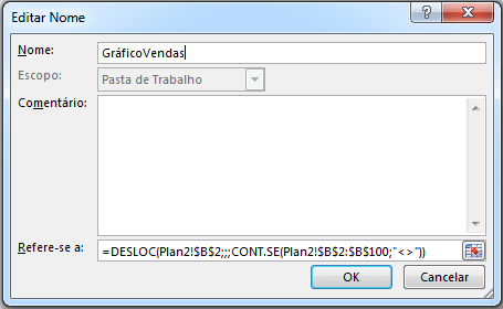 intervalo dinâmico função DESLOC e CONT.SE