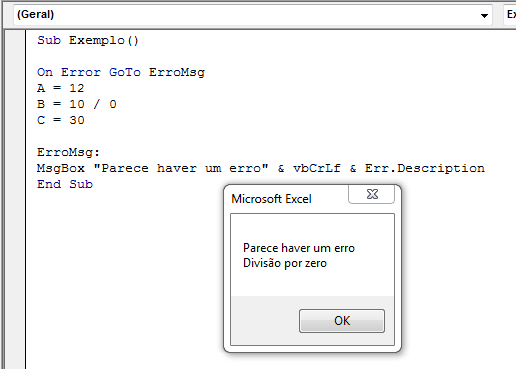 Como usar On Error Goto -1