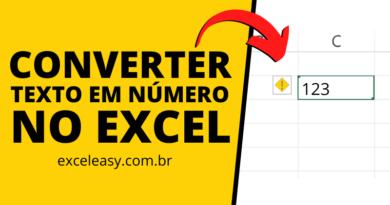 Diferentes opções para Converter Texto em Número no Excel