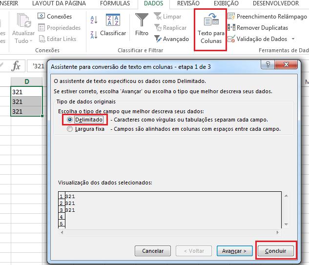 Texto para Colunas - usando para converter em número