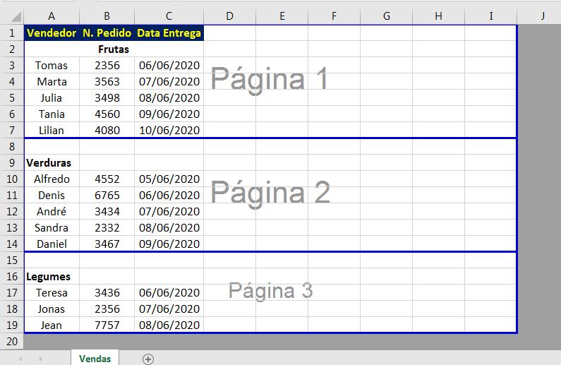 Quebras de páginas no Excel