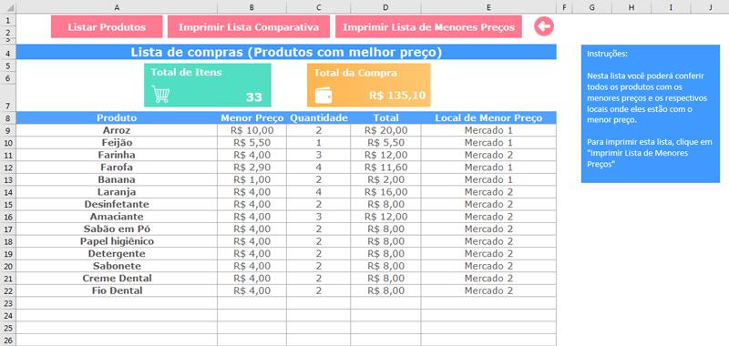 Baixar modelo de lista de compras grátis no Excel