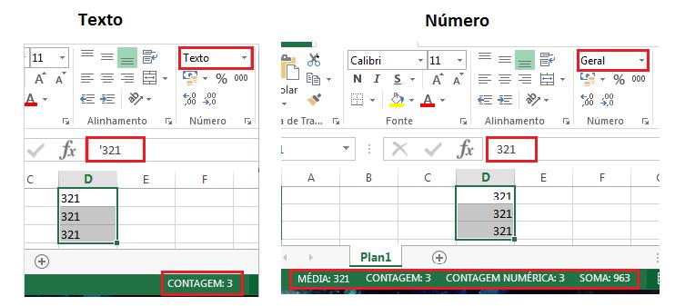 Diferença entre formato de texto e formato de número no Excel