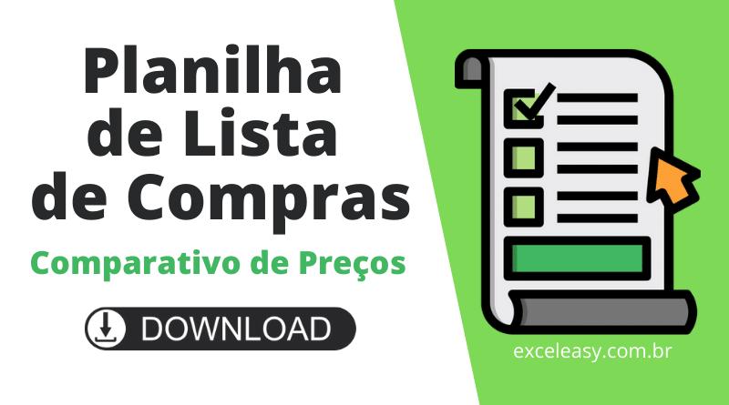 Planilha de Lista de Compras grátis - modelo no Excel