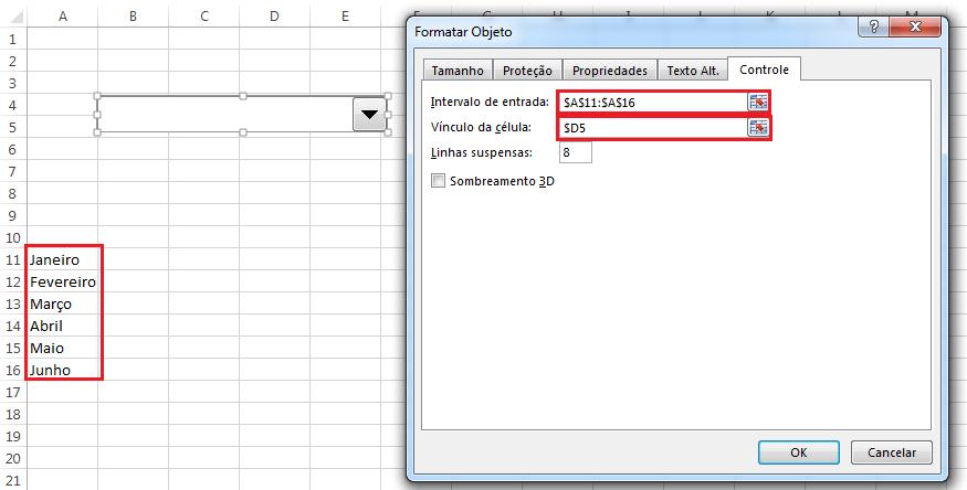 Formatando um combobox no Excel