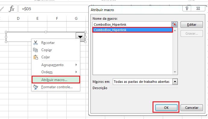atribuindo uma macro a uma combobox no Excel