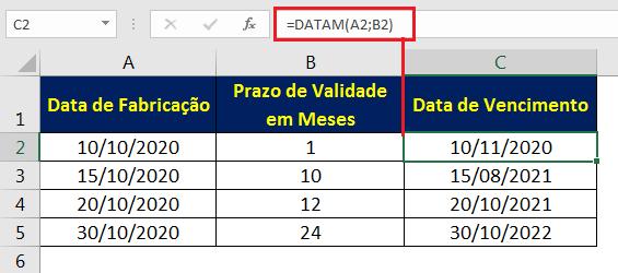 Calculando data de validade no Excel com a função DATAM