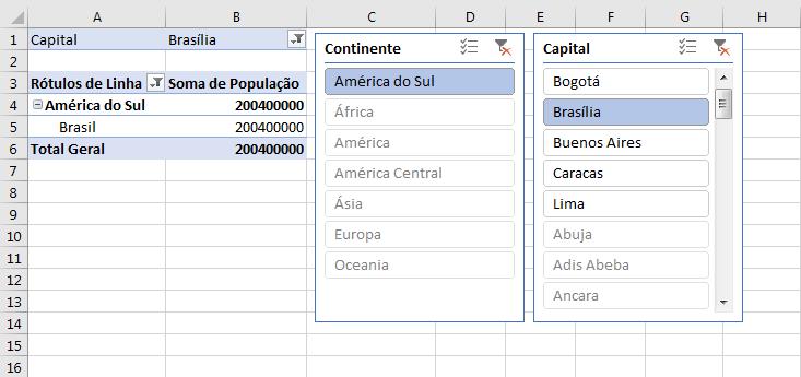 Tabela dinâmica segmentação de dados como inserir