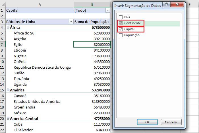 Tabela dinâmica segmentação de dados