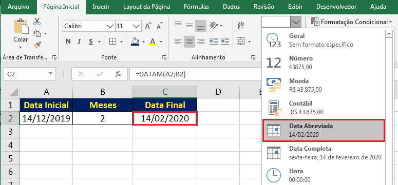 Formatar valor como data no Excel