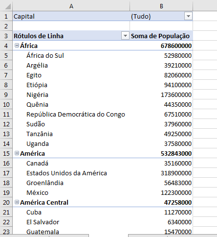 tabela dinâmica com filtro personalizado