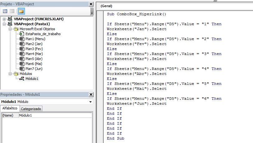 Macro para combobox com links no Excel
