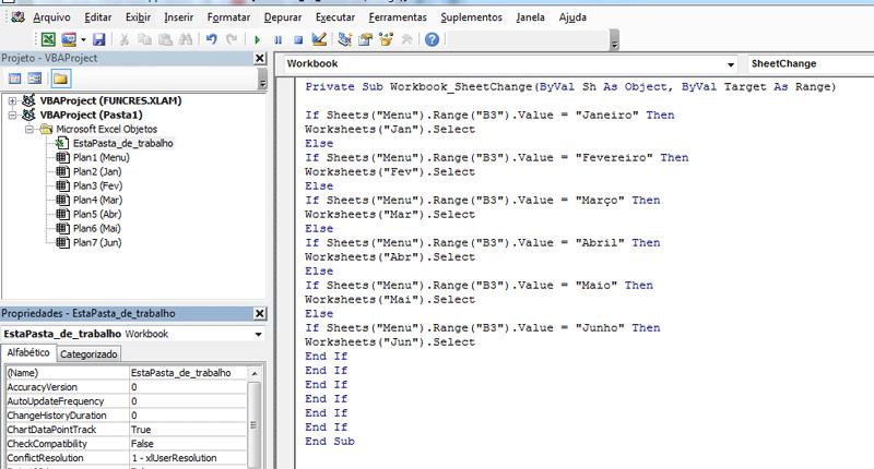 Menu dropdown no Excel com links