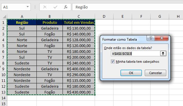 Filtro personalizado no Excel