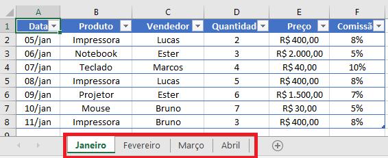juntar planilhas no Excel