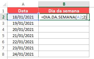 Calcular o dia da semana no Excel