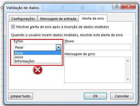 Como configurar mensagem de erro na validação de dados
