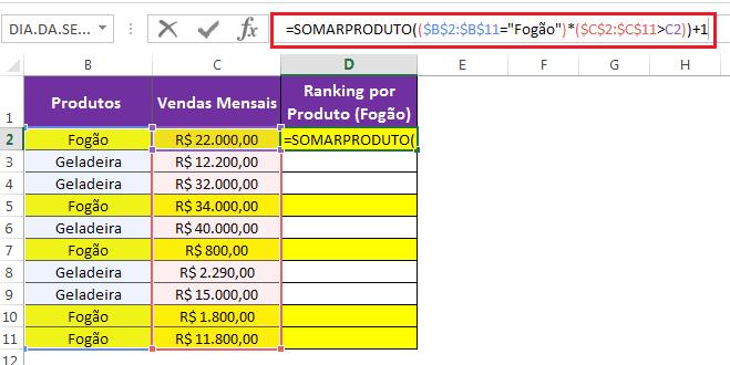 SOMARPRODUTO no Excel ranking