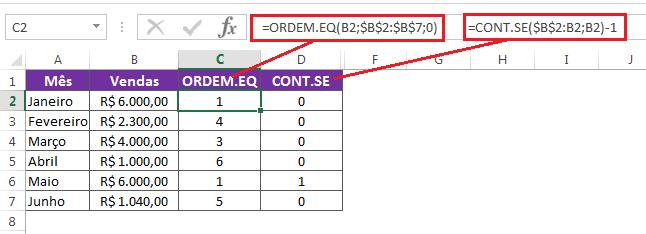Ranking com valores únicos no Excel