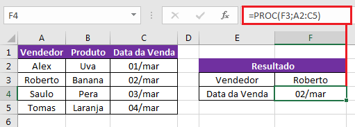 exemplo função PROC matricial