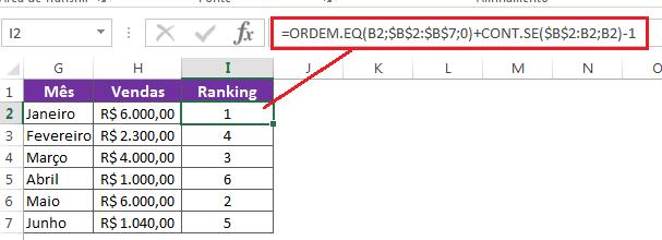 Ordenar valores com ORDEM e CONT.se