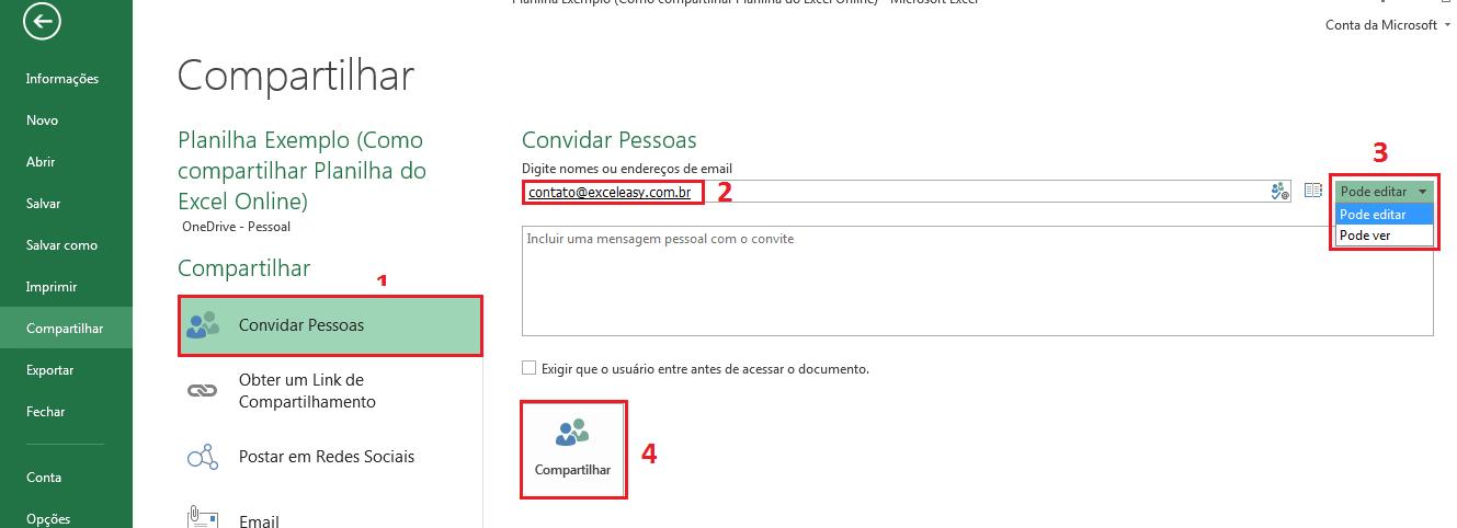 Como Compartilhar no Excel usando o OneDrive
