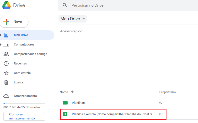 Compartilhar arquivo do Excel no Google Drive