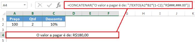 Usando a função TEXTO no Excel