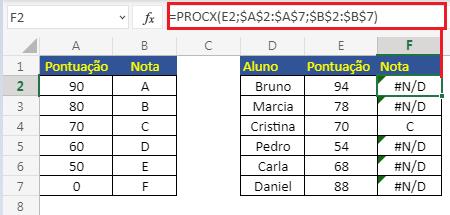 PROCX com correspondência exata