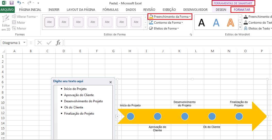 Criando Linha do tempo de gráficos SmartArt
