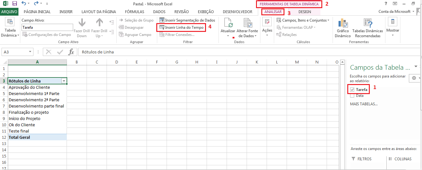 Tabela do tempo para fazer linha do tempo