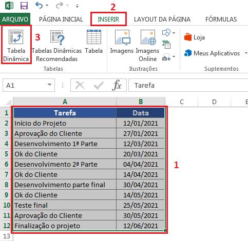 Criando tabela dinâmica para fazer linha do tempo