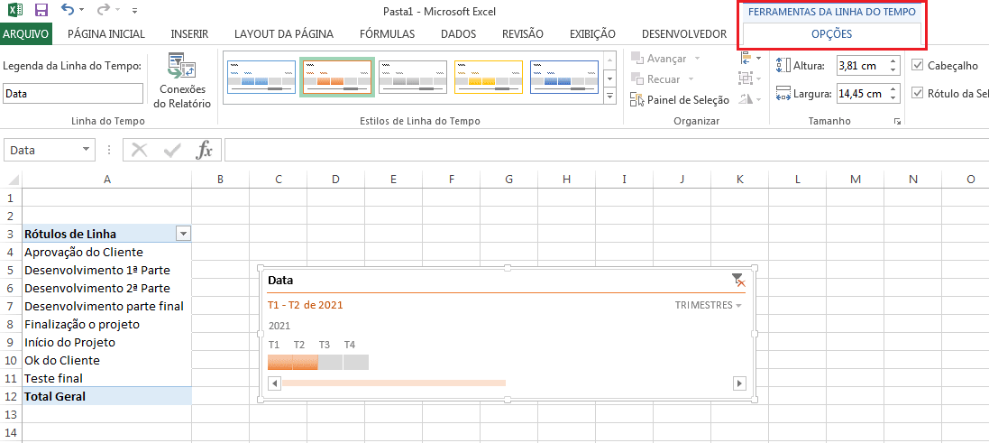 Linha do tempo no Excel com tabela dinâmica
