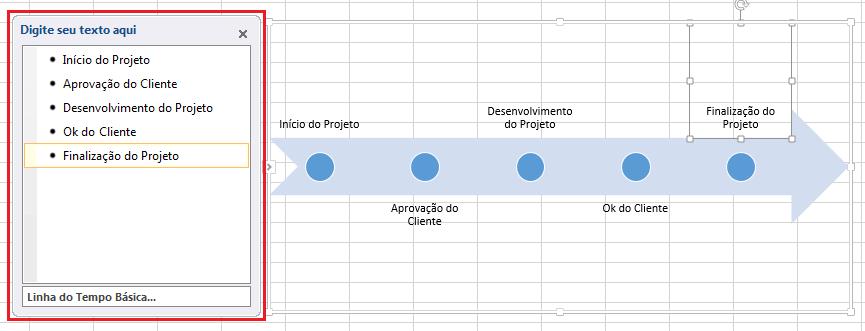 Criar Linha do tempo de gráficos SmartArt