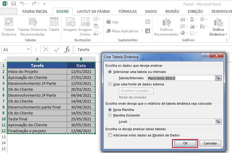 Usando tabela dinâmica para criar linha do tempo no Excel