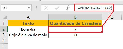 Contar caractere no Excel